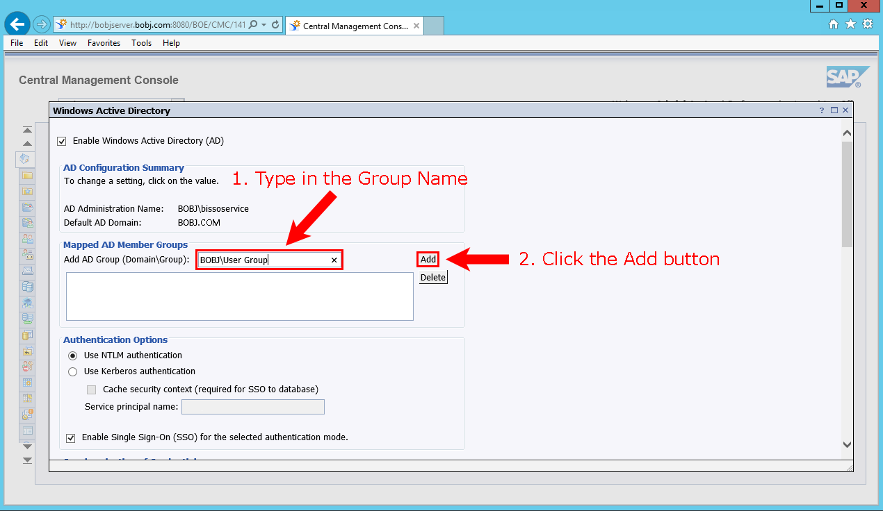 Setting up SAP BusinessObjects single sign-on based on WinAD