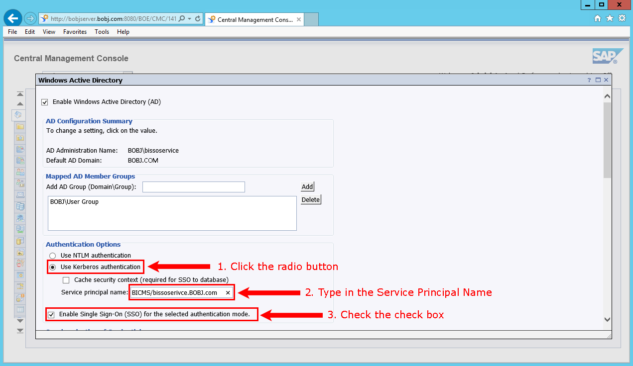 Setting up SAP BusinessObjects single sign-on based on WinAD logins